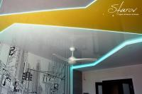 Комбинация натяжных потолков и гипсокартона через профиль для светодиодной ленты. Немецкие глянцевые натяжные потолки Pongs. Французские цветные натяжные потолки CTN. Натяжной потолок в детской.