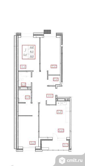 3-комнатная квартира 99,09 кв.м