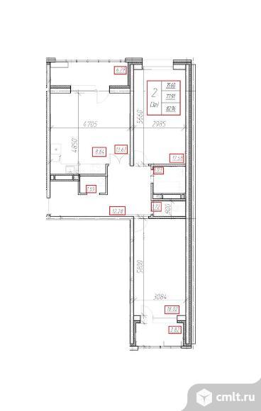 3-комнатная квартира 82,96 кв.м