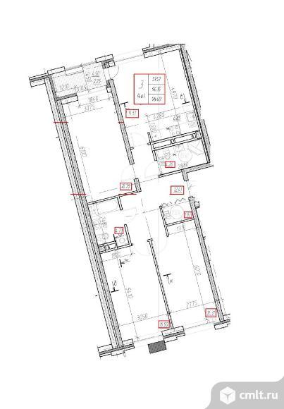 3-комнатная квартира 98,4 кв.м
