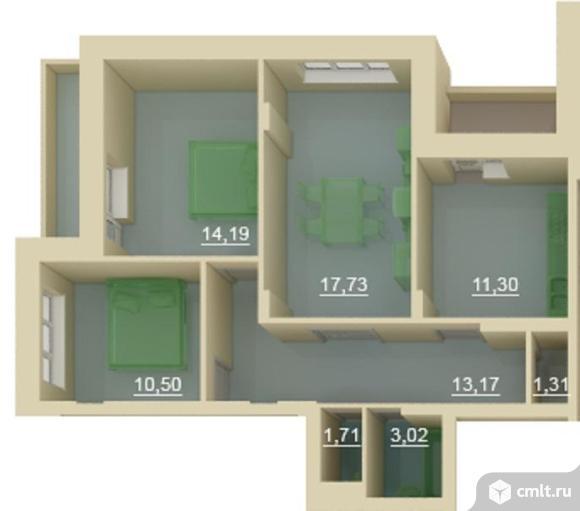 3-комнатная квартира 82 кв.м в ЖК Славный