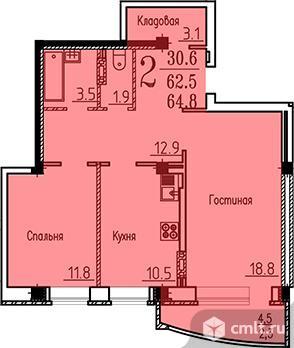 2-комнатная квартира 64,8 кв.м