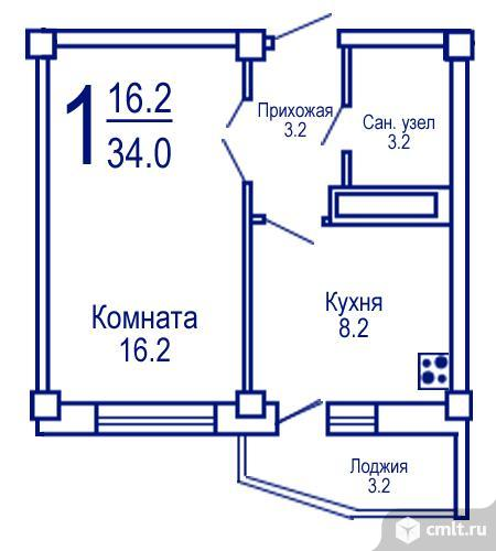 1-комнатная квартира 34,7 кв.м. Фото 7.