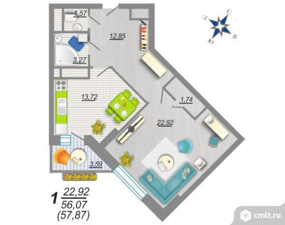1-комнатная квартира 57 кв.м