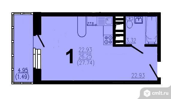 Квартира-студия 27 кв.м