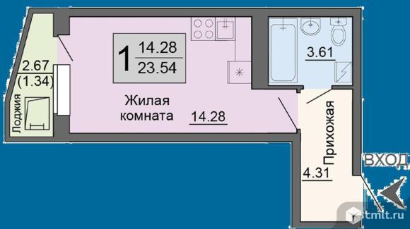 1-комнатная квартира 23,54 кв.м