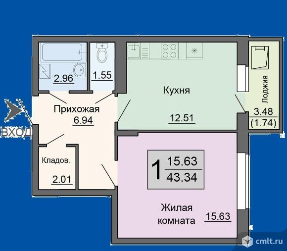 1-комнатная квартира 43,34 кв.м