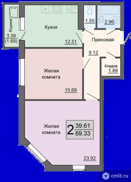 2-комнатная квартира 69,33 кв.м