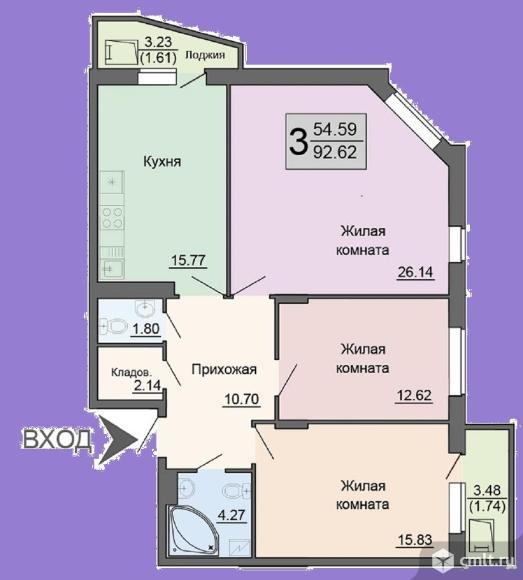3-комнатная квартира 92,62 кв.м