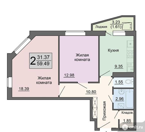 2-комнатная квартира 59,49 кв.м