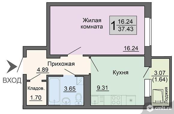 1-комнатная квартира 37,43 кв.м