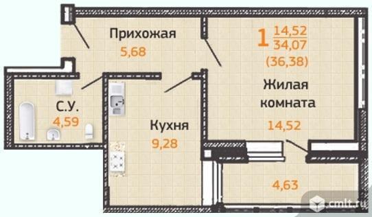1-комнатная квартира 39,73 кв.м