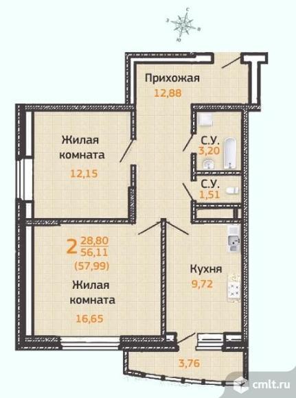 2-комнатная квартира 61,26 кв.м