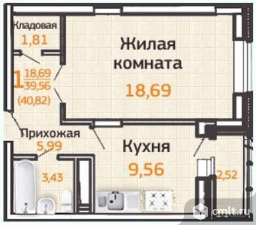 1-комнатная квартира 43,02 кв.м