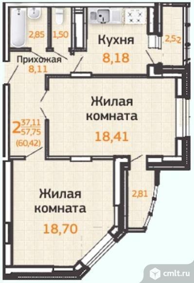 2-комнатная квартира 64,43 кв.м