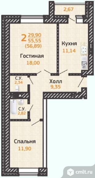 2-комнатная квартира 59,87 кв.м