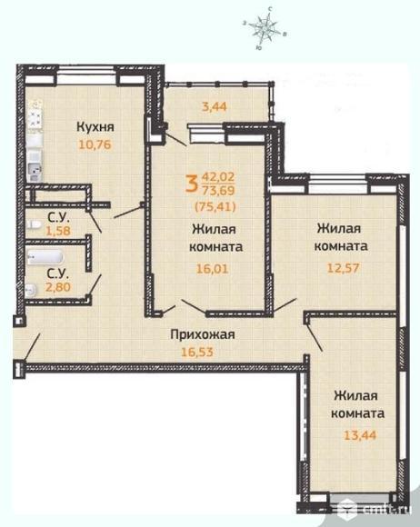 3-комнатная квартира 79,04 кв.м