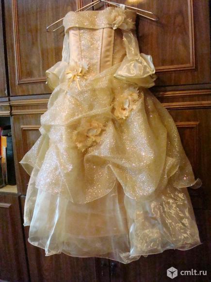 Платье бальное для девочки 6-9 лет, цв. золотистый, б/у