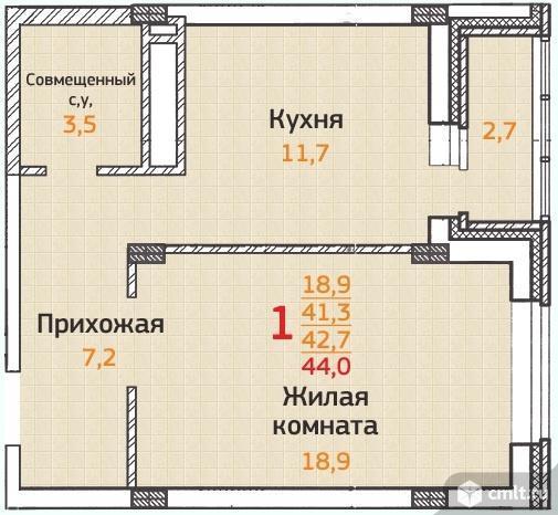 1-комнатная квартира 42,2 кв.м