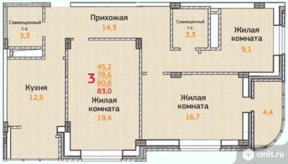 3-комнатная квартира 83 кв.м