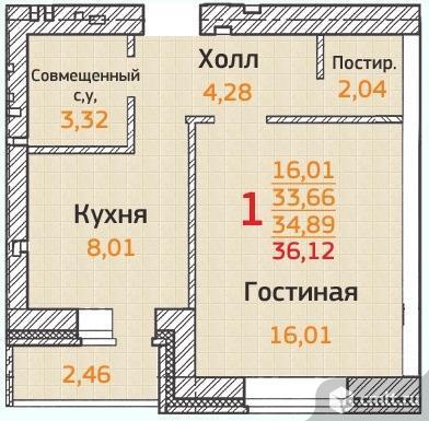 1-комнатная квартира 36,12 кв.м