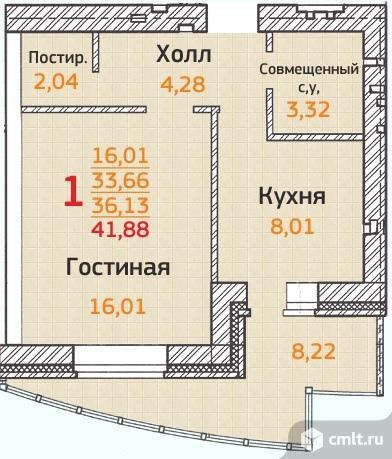 1-комнатная квартира 41,88 кв.м