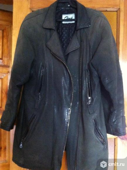Куртка кожаная натуральная, цв. болотный, р. 50, б/у, 500 р