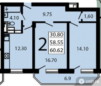 2-комнатная квартира 60,62 кв.м