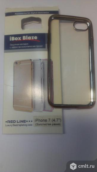 Чехол iphone  7  золотая рамка новый. Фото 1.
