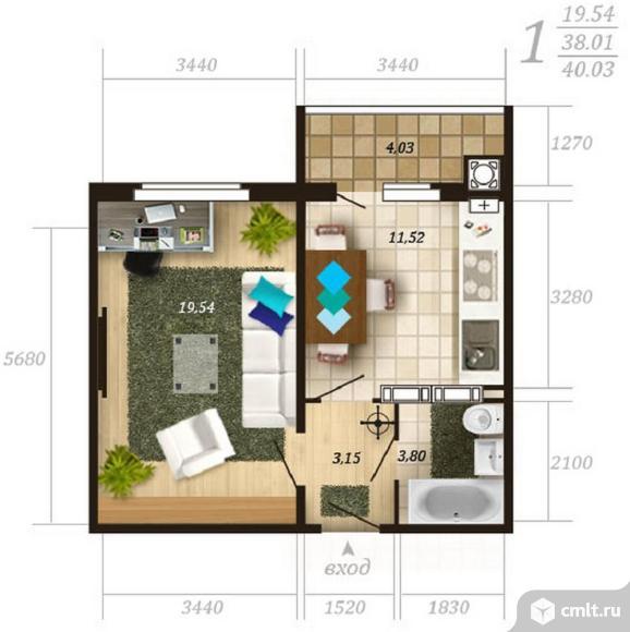 1-комнатная квартира 40,03 кв.м