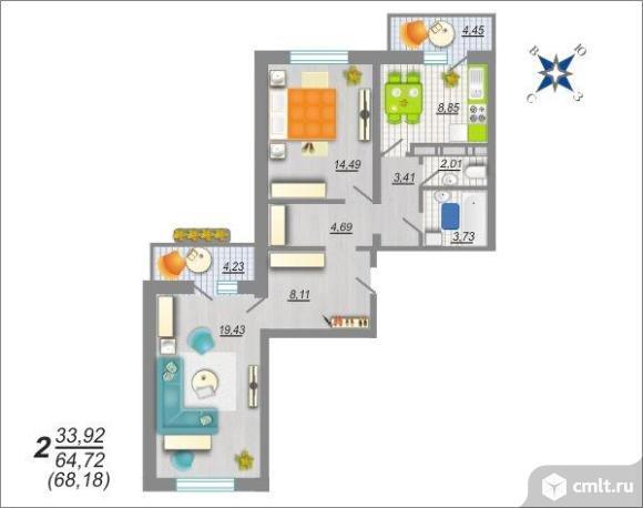 2-комнатная квартира 68,18 кв.м