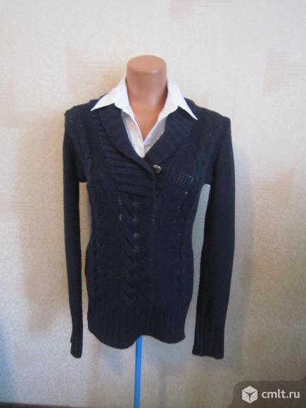 Пуловер темно -синий.. Фото 1.