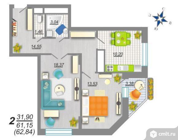 2-комнатная квартира 62,41 кв.м