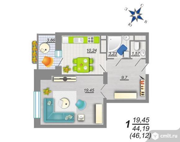 """1-комнатная квартира 51,38 кв.м в ЖК """"Дельфин"""". Продам!"""