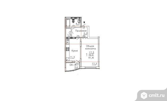1-комнатная квартира 41,41 кв.м