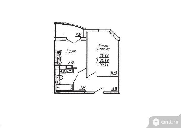 1-комнатная квартира 38,41 кв.м
