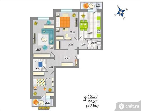3-комнатная квартира 86,9 кв.м