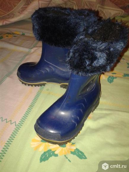 Резиновые сапоги с теплым носком р.25 15см. Фото 1.