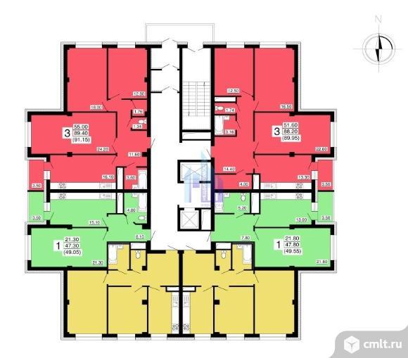 3-комнатная квартира 89,95 кв.м