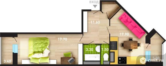 2-комнатная квартира 54,46 кв.м