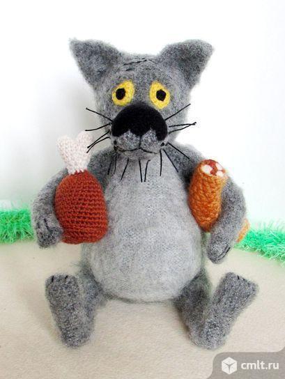 Вязаная игрушка Волк.