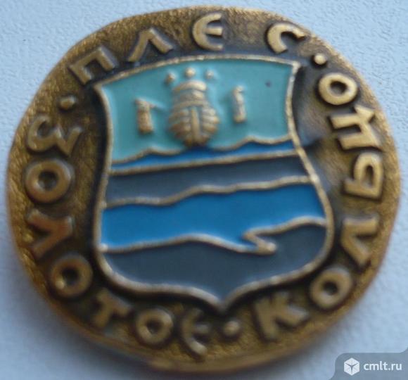 """Значок """"Золотое кольцо - Плес"""", герб, СССР, металл, эмаль.. Фото 1."""
