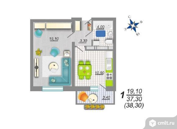 1-комнатная квартира 38,3 кв.м