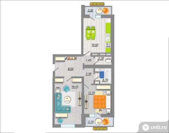 2-комнатная квартира 68,5 кв.м