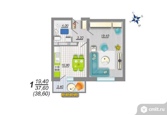 1-комнатная квартира 38,6 кв.м