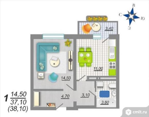 1-комнатная квартира 38,1 кв.м