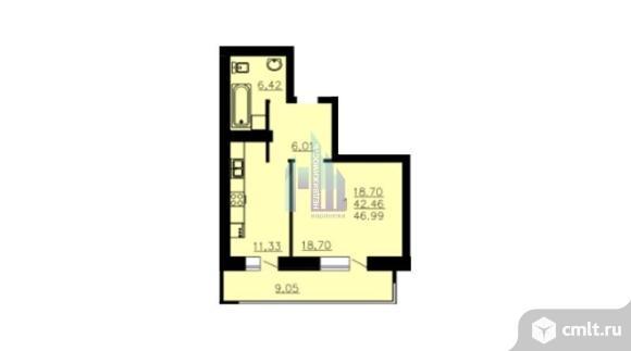 1-комнатная квартира 46,99 кв.м