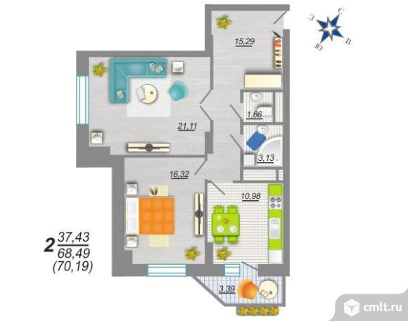 2-комнатная квартира 70,2 кв.м