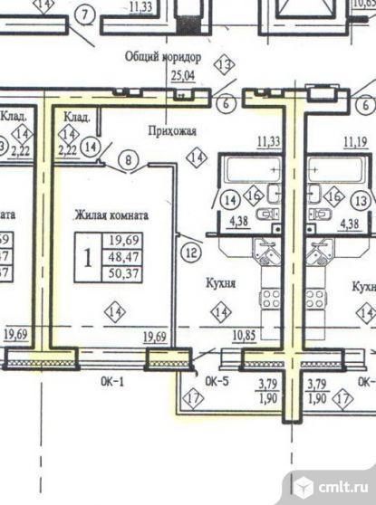 1-комнатная квартира 50,37 кв.м