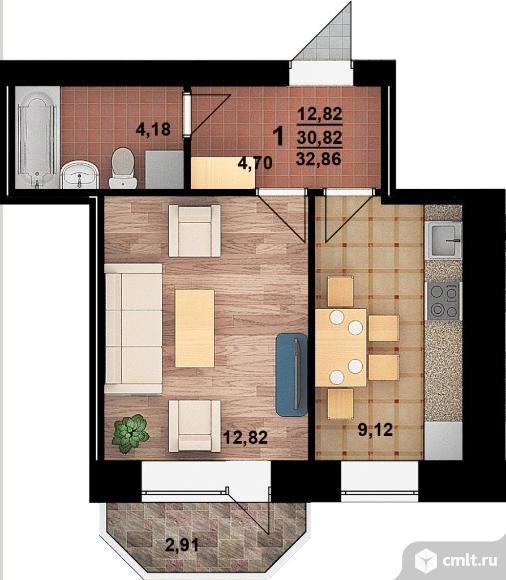 1-комнатная квартира 33 кв.м